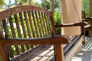 wooden porch swing with chain